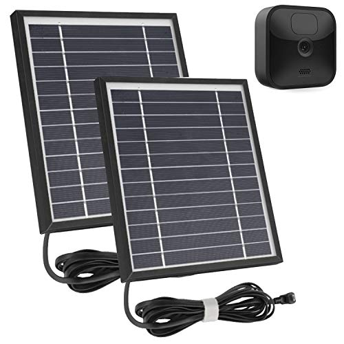 iTODOS 2 Pack Solar Panel Works for Blink Outdoor and Blink XT XT2 Camera, 11.8Ft Outdoor Power Cable and Adjustable Mount,Weatherproof, Aluminum Alloy Material Sturdy Durable and Anti-Aging - Black