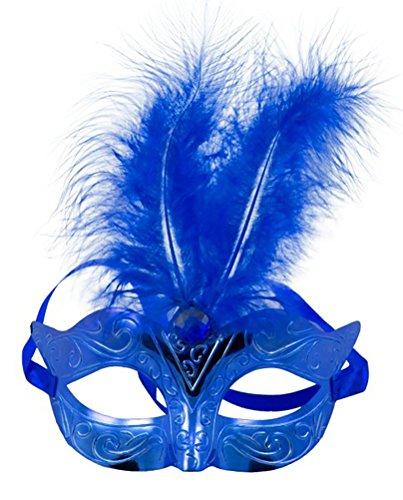 Creative Masque Yeux métallique avec Plumes Blu