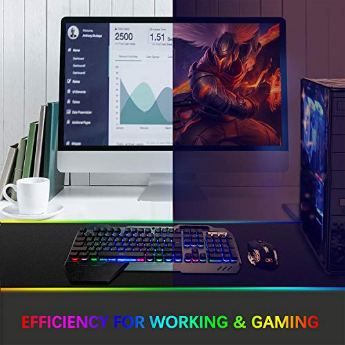 Wireless Gaming Keyboard and Mouse,Rainbow Backlit Rechargeable Keyboard Mouse with 3800mAh Battery Metal Panel,Removable Hand Rest Mechanical Feel Keyboard and 7 Color Gaming Mute Mouse for PC Gamers