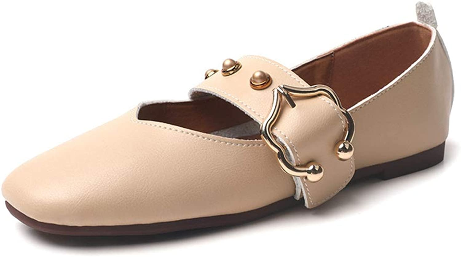 F-OXMY Women Anti-Slip Rubber Outsole Loafers Casual Moccasin Driving Flat Slip-on Buckle Oxfords shoes