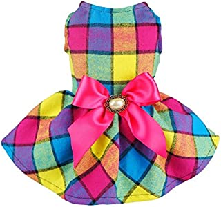 Fitwarm Vintage Plaid Pet Clothes Dog Dress Ribbon Dog Vest Shirts Apparel