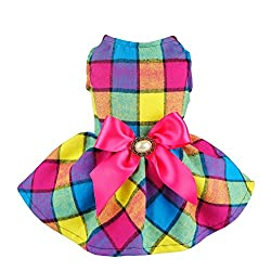Easter Outfits For Dogs - Plaid Easter dress with pink bow.