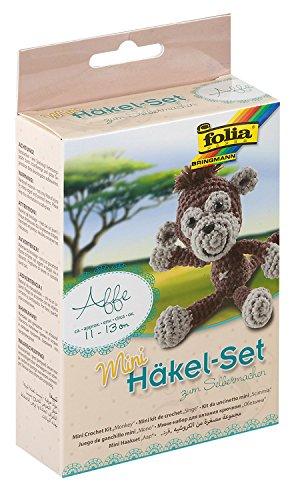 folia 23903 - Mini Häkelset Affe, Komplettset zur Erstellung von einem selbst gehäkelten niedlichen Affen, ca. 13 cm groß, für Kinder ab 8 Jahren und Erwachsene, als Geschenk