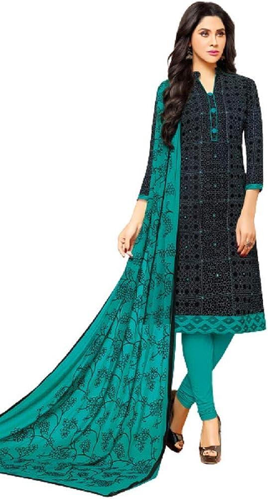 ShopNstyle Ready to Wear Indian Pakistani Ethnic Wear Straight Salwar Kameez Churidar Suit for Women