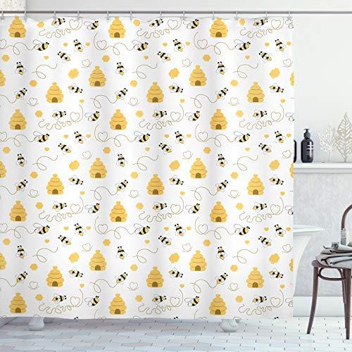ABAKUHAUS Bij Douchegordijn, Vliegende Bugs Hearts Bijenkorven, stoffen badkamerdecoratieset met haakjes, 175 x 200 cm, mosterd White
