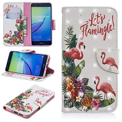 Funluna Funda Huawei P10 Lite, Flamenco 3D Patrón Libro de Cuero Cartera Carcasa PU Leather con TPU Silicona Case Interna Suave Soporte Plegable Ranuras para Tarjetas y Billetera para Huawei P10 Lite
