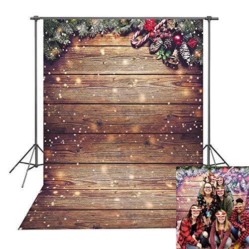 DANIU Fondo de fotografía de Navidad Copo de nieve Brillo dorado Pared de madera Rústico Vintage Fondo de piso de madera para niños Retrato de vacaciones Estudio fotográfico Accesorios de cabina