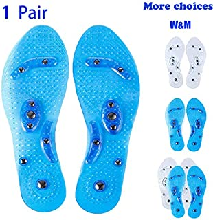 Foot Acupressure Magnetic Massaging Insoles - Reflexology Pain Plantar Fasciitis Relief Silicone Insoles with Arch Support for Men and Women (Blue, 1 Pair US M:7.5-9.5 W:8-10.5)