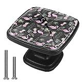 Perillas de gabinete de 4 piezas Perillas de tocador Perillas de cajón de cocinaFrutas de flamenco rosa sin fisuras Mango de cristal
