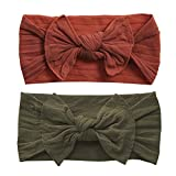Baby Bling Bows 2 Pack - Girls Classic Knot Headbands Sienne and Army Green