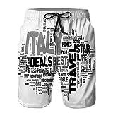 Hombres Verano Shorts de Playa de Secado rápido Shorts de Tablero Italia Ofertas de Viajes Texto Palabra clou M
