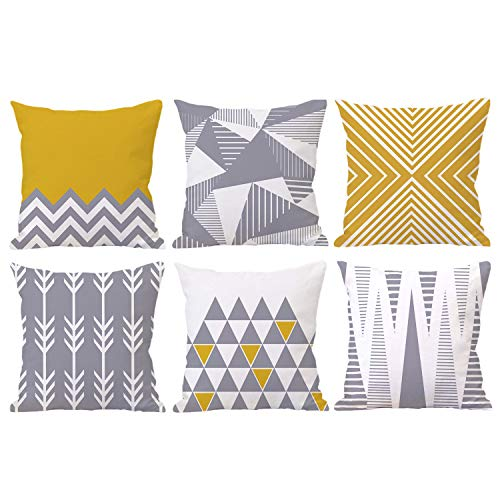 Geometric Throw Pillow Covers 18x18 Modern Decorative Cushion Cover Set of 6 for Home, Office, Dorm and Car (Grey and Yellow Arrow)