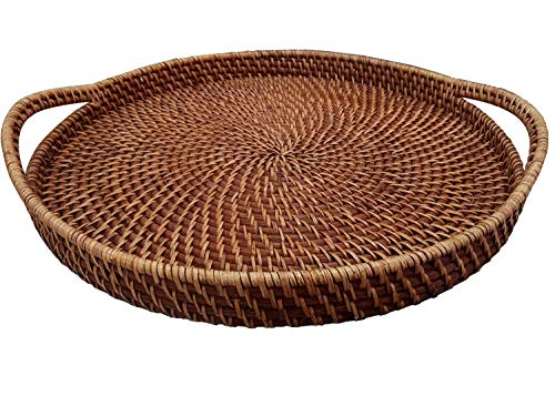 Large 18' Round Wicker Serving Trays and Platters with Handles | Handcrafted Breakfast, Food, Dish, Coffee, Bread Serving Baskets for Home and Restaurants (Brown)