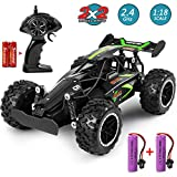 MOSFiATA G03063R RC 1:18 Scale 2.4Ghz Remote Control Trucks, 15-20 km/h High Speed Racing 2 Lithium Rechargeable Batteries, Electric Toy Car for All Adults & Kids, Green+Black
