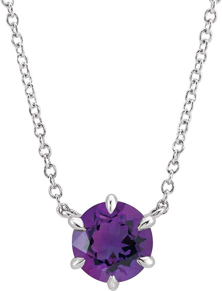 Washington Mall Solid Platinum Don't miss the campaign Solitaire Amethyst Chain Charm Pendant