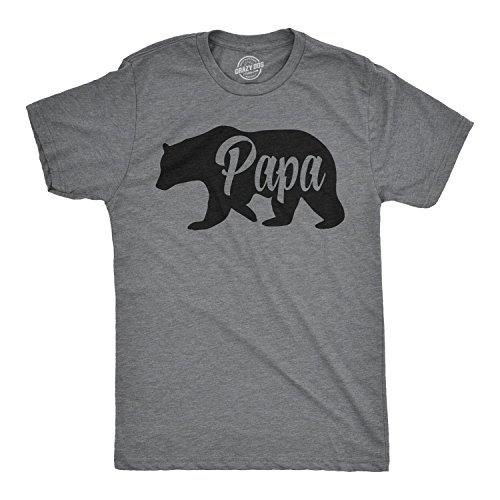 Mens Papa Bear Funny Shirts for Dads Gift Idea Humor Novelty Tees Family T Shirt (Dark Heather Grey) - 3XL