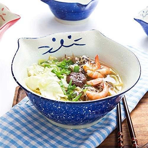 Happiness Tableware LIXUE Japanischen Stil Kreative Katze Keramik Schüssel Hause Nette Schüssel Kinder Obstsalat Schüssel Suppe Ramen Pasta Schüssel Dessert Snack Schüssel (Größe : 6.25 inches Blue)