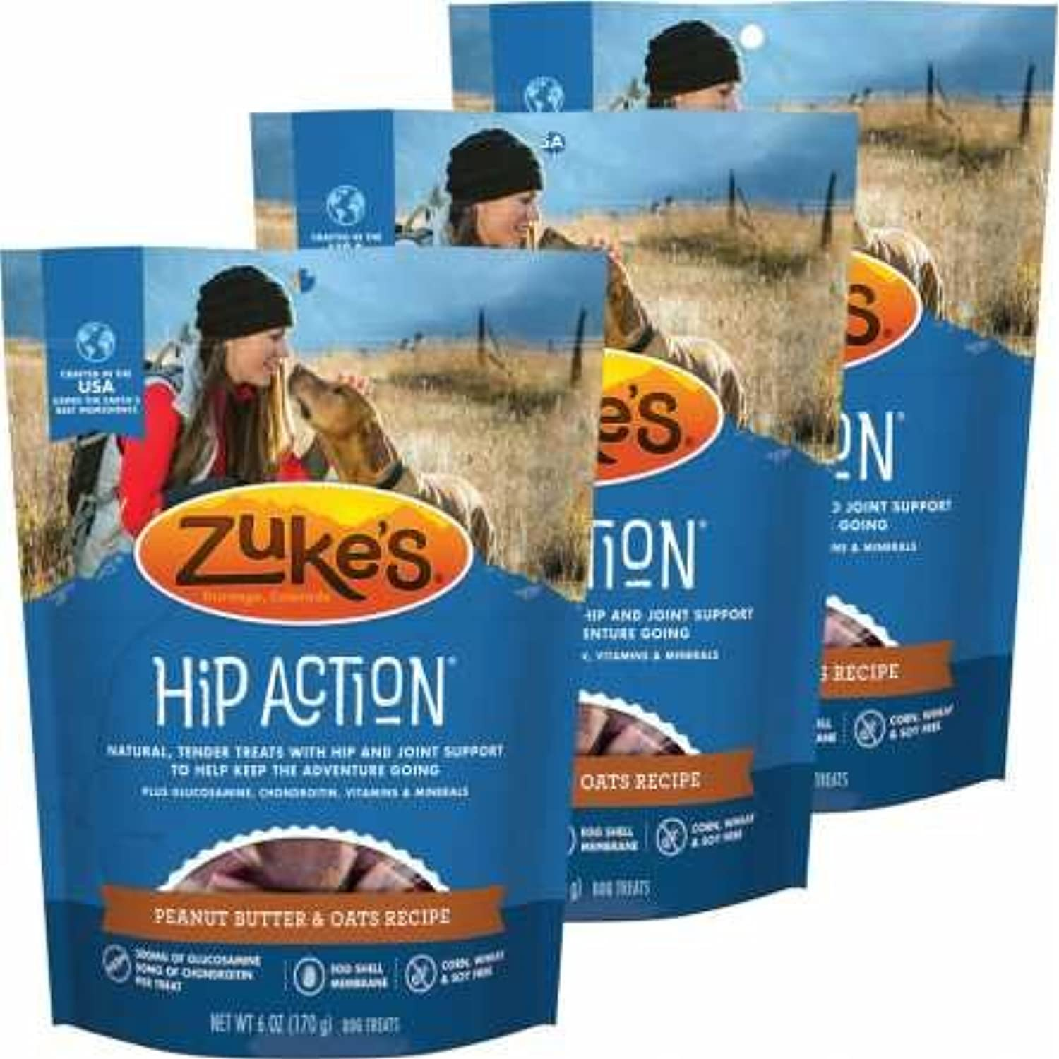 3 Packs Zuke's Hip Action with added Glucosamine and Chondroitin  PEANUT BUTTER (18 oz) by Zuke's