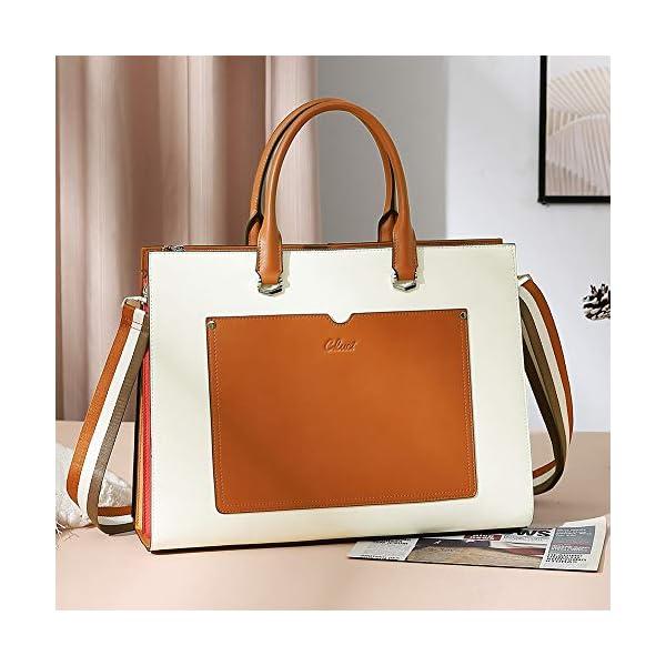 CLUCI Women Briefcase Genuine Leather 15.6 Inch Laptop Slim Business Ladies Shoulder Bag Black 4