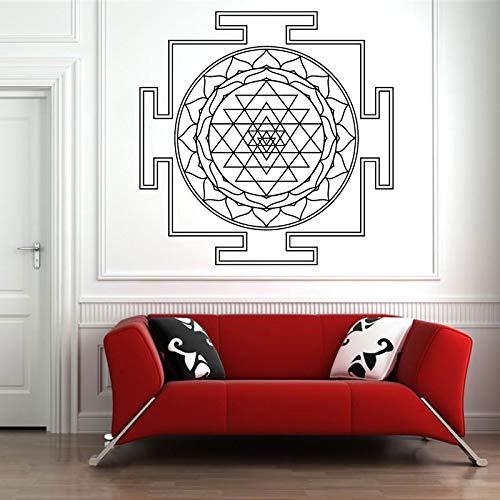 Resumen Sri Yantra Geometría Sagrada Triángulo Círculo Línea Madala Flor Etiqueta de la pared Calcomanía de vinilo Dormitorio Sala de estar Estudio de yoga Oficina Decoración para el hogar Mural