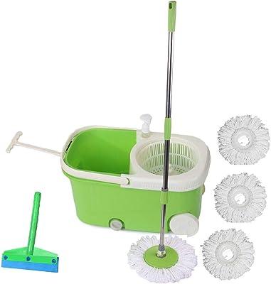 Frestol Plastic Mop with Wheel+4 Refill+Rod+Wiper - Green