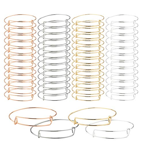 60 Pieces Expandable Bangle Bracelet, Shellvcase Adjustable Wire Bracelets Blank Bangles for DIY Jewelry Making, 4 Colors