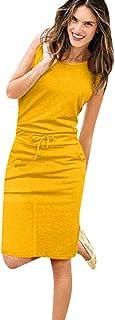Toponly vestido de fiesta informal de verano con tirantes para mujer, Amarillo, L, 1