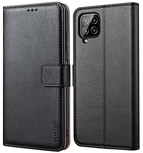 Peakally Cover per Samsung Galaxy A22 4G (Non per Samsung Galaxy A22 5G), Cover Libro in Pelle PU Premium, Custodia Portafoglio con Funzione [Supporto] [Slot per Schede] [Chiusura Magnetica]-Nero