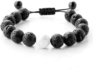 Maromalife Lava Stone Diffuser Bracelet, Handmade Woven Bracelet Adjustable Braided Wristband Essential Oil Aromatherapy Bracelet Yoga Wristband with 14+1 Genuine Lava Stone