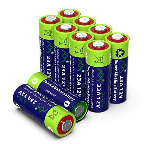 Alkaline 23A MN21 Quecksilberfreie Batterie 12V, 10 Stück im Multi-Sparpack (A23/ V23GA / LRV08 / 8LR932) entwickelt für die Verwendung in Fernbedienungen, Funktürglocken und Sicherheitssystemen