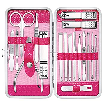 Gift for Women/Men,Nail Care kit Manicure Grooming Set with Travel Case - Yougai 18 Piece Stainless Steel Manicure Kit  Pink