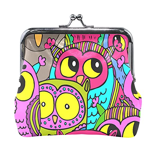 Pequeña bolsa para monedero, buena noche, lindo animal pintado búho, mini carteras para mujeres con cierre de beso mini carteras para mujeres y niñas de 10 x 10 cm