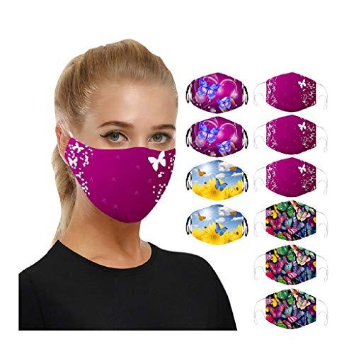 10 Stück Atmungsaktive mundschutz waschbar, Mundschutz mit motiv mundbedeckung stoff baumwolle Wiederverwendbare Anti-staub mundschutz zum Laufen, Radfahren