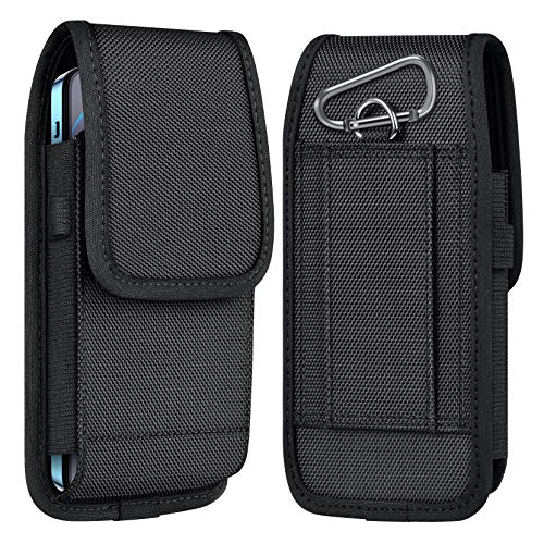 ykooe Cell Phone Pouch Nylon Holster Case with Belt Clip Cover Compatible with iPhone 12, 11, Pro, Max, SE2 7 X, Samsung Galaxy S20 FE S10 S9 A51 A01 A20, Google Pixel 4A, Moto/LG