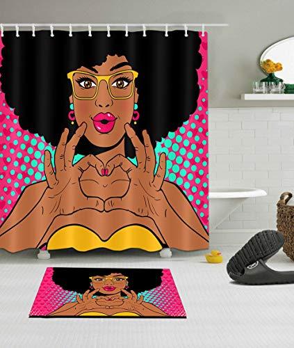N \ A Cortina de ducha africana afro mujer niños decoración poliéster tela 72x72 impermeable mano sobre corazón amarillo gafas niña niños baño Liner Set baño Mat