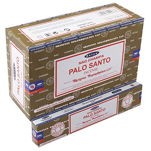 Satya Nag Champa - Varillas de incienso Palo Santo | 12 paquetes x 15 gramos | Caja de 180 gramos |...