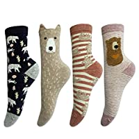LOTUYACY Cute Animal Designe Womens Girls Casual Comfort Cotton Crew Socks 4 Pack 5 Pack
