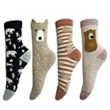 LOTUYACY Womens Girls Cute Animal Casual Socks Comfort Funny Cotton Crew Socks 4 Or 5 Pack (Bear-4 Pairs)