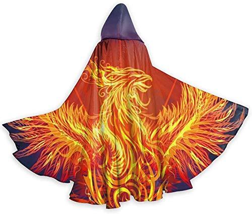 remmber me Feuer Phoenix ist wiedergeboren Erwachsenen Mantel Unisex Halloween Robe voller Länge Kapuzenmantel für Weihnachten Cosplay Party schwarz 59 x 15,8 Zoll