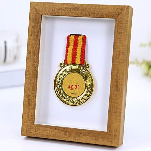 YHSW Display Medaillenrahmen,Sportmedaille 3D-Rahmen Fotorahmen,Zertifikat personalisierte Fotorahmen mit Titel,Medaille Marathon,Titel und Foto,Militär/Sportmedaille,Aufbewahrungsbox für Souvenirs