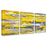 Kaupuar Canvas Wall Art Abstract Yellow Grey Framed Wall Art Paintings for Bedroom Living Room Office Home Decoration Modern Canvas Artwork Wall Decor Ready to Hang 12''x16'', 3 Pieces