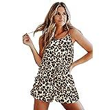 FAYHRH Top y Pantalones Cortos Pijama,Pijama Mujer Verano, Traje de Servicio a Domicilio Encaje Sling-Leopard_S