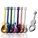 Gitarrenlöffel, Kaffeelöffel, Kaffeelöffel, Erise, Edelstahl, bunt, Dessertlöffel mit Gitarrenöffner, niedlicher Demitasse-Tee-Schaufel zum Rühren von Getränken, Milkshake-Marmelade 7 Pcs Guitar Spoons +1 Opener