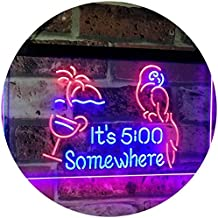 It's 5:00 Somewhere 5pm Cocktails Bar Décor Parrot Palm Tree Dual Color LED Neon Sign Red & Blue 600 x 400mm st6s64-i2560-rb