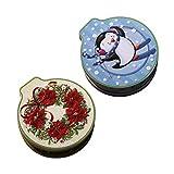 Sqiuxia Weihnachtsdosen, 2 Stück, Mini-Aufbewahrungsdosen für Süßigkeiten, Kekse, Weißblech, 4 Muster Optioanl, merhfarbig, app.12x11x4cm/4.72x4.33x1.57in