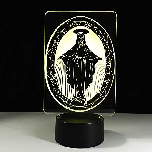 Led Table Light La Vierge Marie Lampe Usb Couleur Visuel Atmosphère Veilleuses Décor À La Maison Innovation Innovation Cadeaux De Noël Pour La Bonne Chance 3D