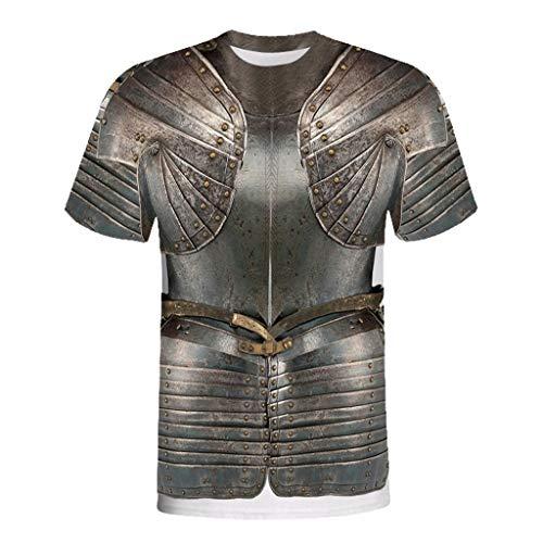 BURFLY Herren Sommer Retro 3D Rüstung Druckhemd Herren 2019 Design Neue sportliche T-Shirt Straße Kleidung