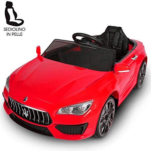 BAKAJI Auto Elettrica Bambini Macchina Maserati Ghibli 2020 Motore 12V Fari LED Funzionanti Luci Suoni Lettore MP3 AUX Telecomando Controllo a Distanza Dimensione 108 x 56 x 44 cm (Rosso)