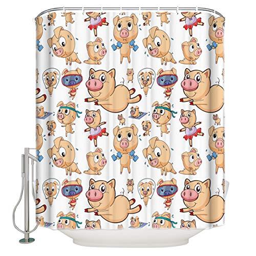 Cartoon Schwein Duschvorhang Bad Vorhang Polyester Stoff Bad Vorhang Waschbar Home Bad Dekor 180 × 180Cm