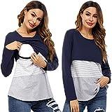 Camisa Lactancia Mujer Algodón con Mangas Largas Camiseta de Premamá Embarazada a Rayas Suave Cómodo Blusa Ropa de Amamantar Maternidad Transpirable